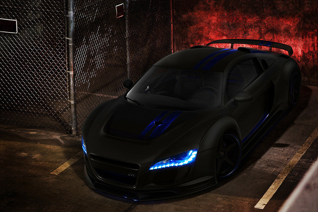 Audi R8 Black Tuning Car Poster