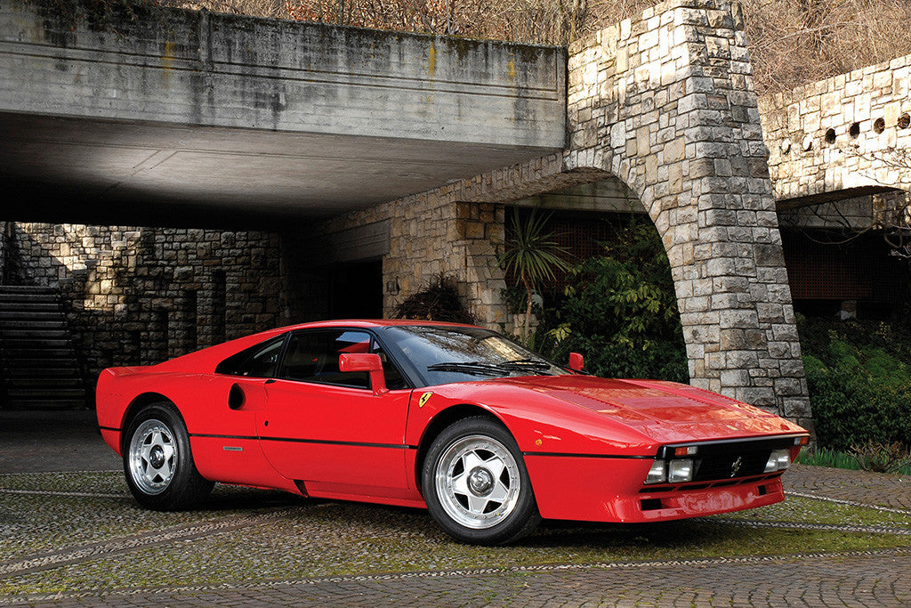 Ferrari 288 GTO Red Vintage Retro Car Poster
