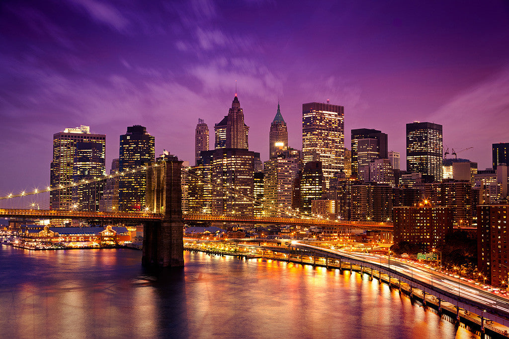 Brooklyn Bridge New York City Nyc USA Night Manhattan Poster