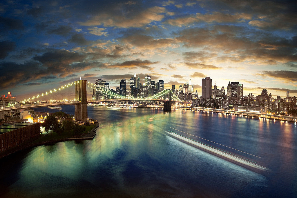 USA United States New York City Brooklyn Bridge Night Poster