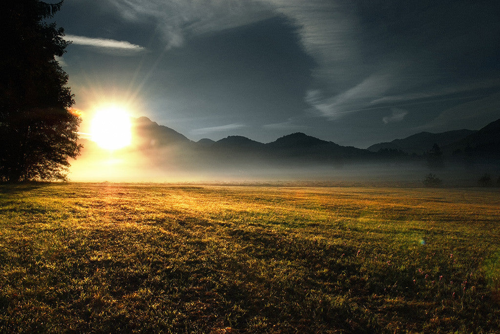Beautiful Landscape Nature Mountains Sunset Poster