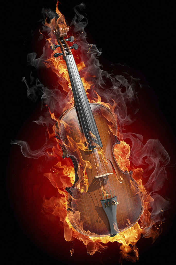 Flaming Violin Rock Music Poster