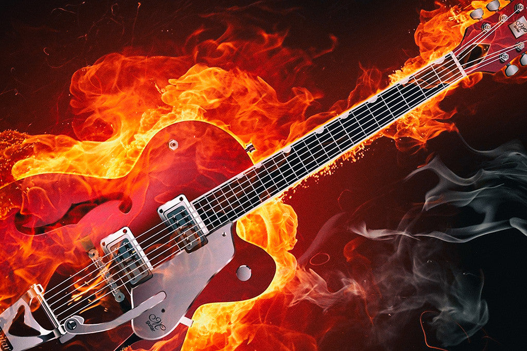 Flaming Guitar Rock Music Poster