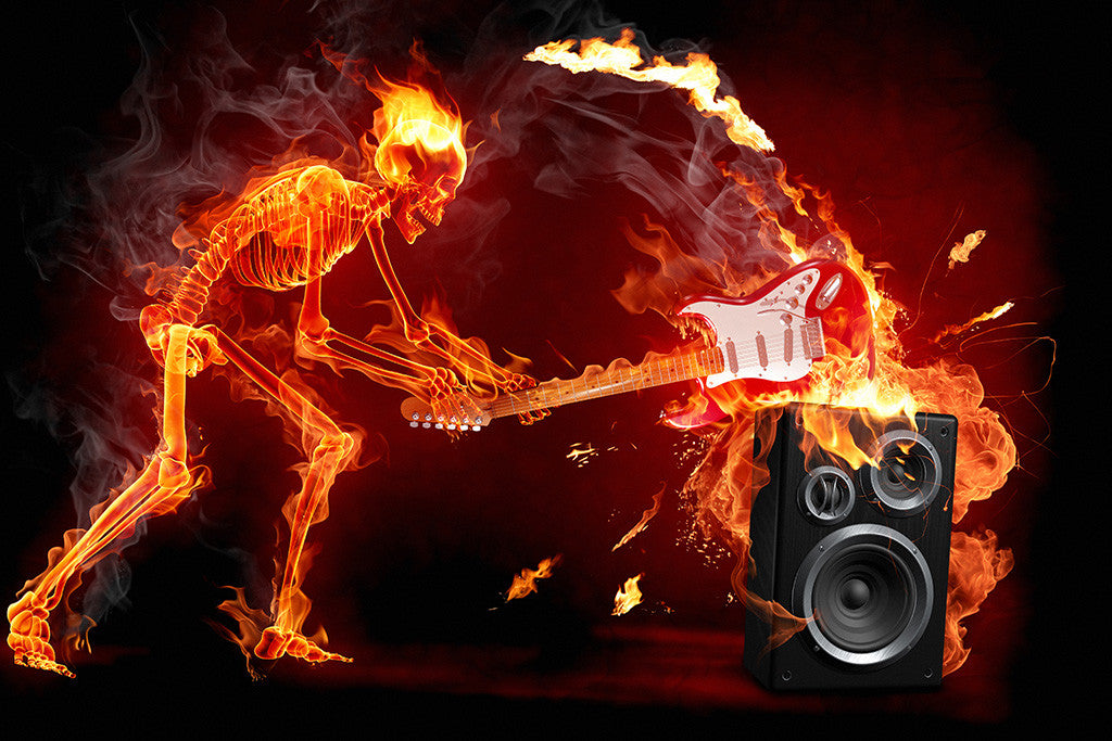 Flaming Skull Guitar Rock Music Poster