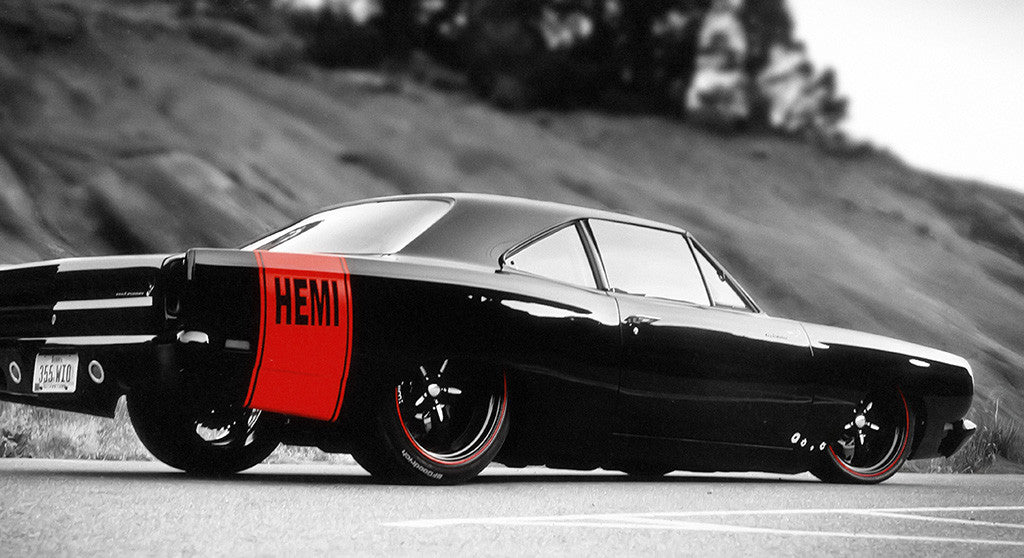 Dodge Charger Hemi Retro Muscle Car Black And White Poster My Hot
