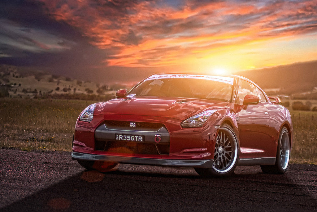 Nissan Gt R R35 Red Car Sunset Poster My Hot Posters