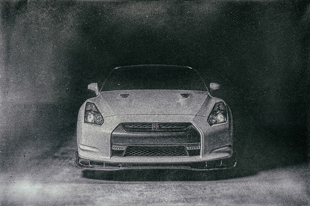Nissan GT-R R35 Car Black and White Poster
