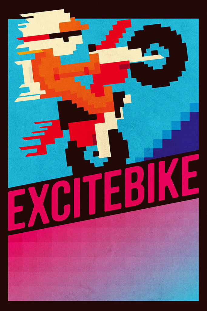 Excitebike Old Classic Retro Game Poster
