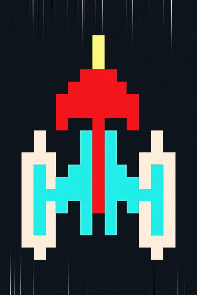Galaxian Ship Old Classic Retro Game Poster