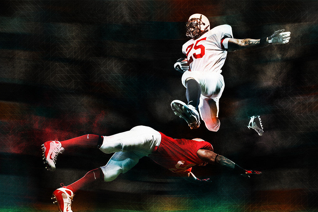 American Football Athletes Jump Sport Poster