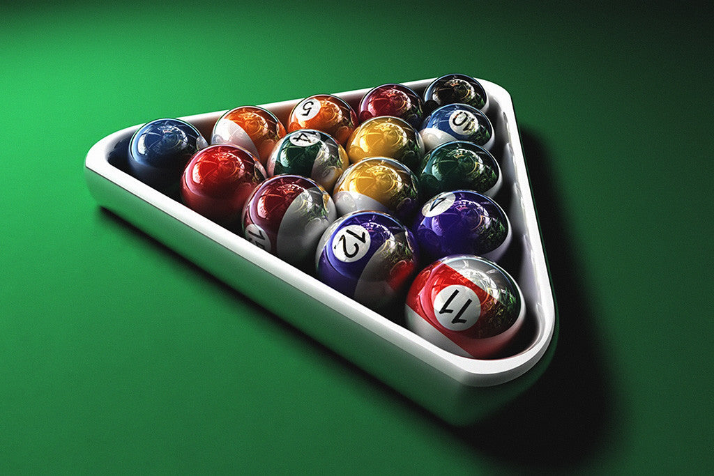 Billiards Balls Table Poster
