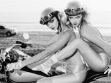 Cute Hot Sexy Girls Black and White Harley Davidson Bike Motorcycle Poster
