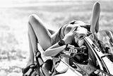Hot Sexy Girl Black and White Ducati 1199 Panigale S Sport Motorcycle Bike Poster