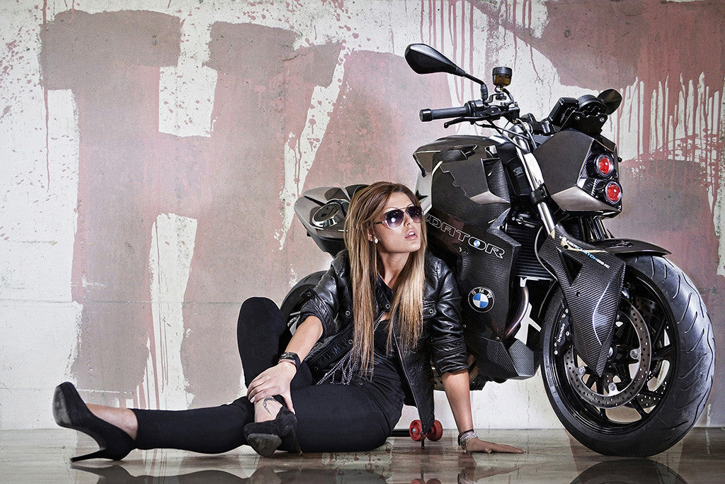 Hot Sexy Girl BMW Vilner Predator FF800 Bike Motorcycle Poster