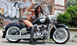 Hot Sexy Brunette Girl Erotic Motorcycle Bike Harley Davidson Poster