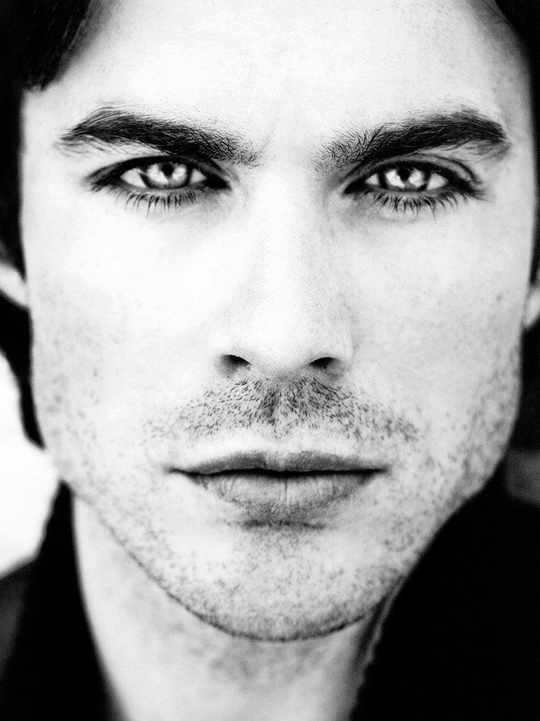 Ian Somerhalder The Vampire Diaries Black and White Close Up Poster