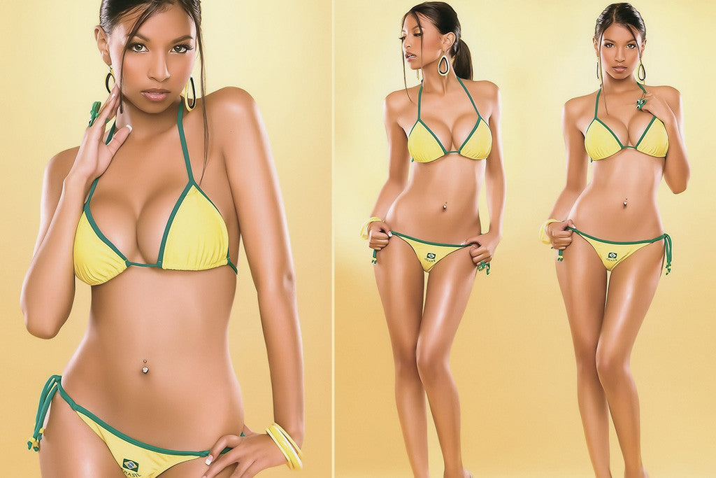 Brasil Fan Hot Sexy Girl Fifa Football Soccer Poster