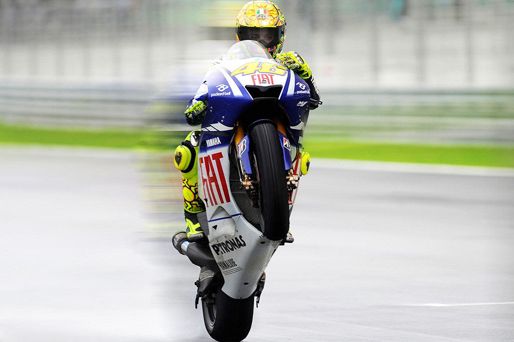 Valentino Rossi Motorcycle Racer Yamaha Motorbike Poster