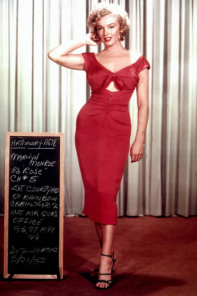 Marilyn Monroe Red Dress Hot Girl Woman Full Body Poster