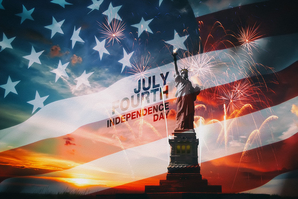 USA Independence Day Flag Statue Of Liberty Poster