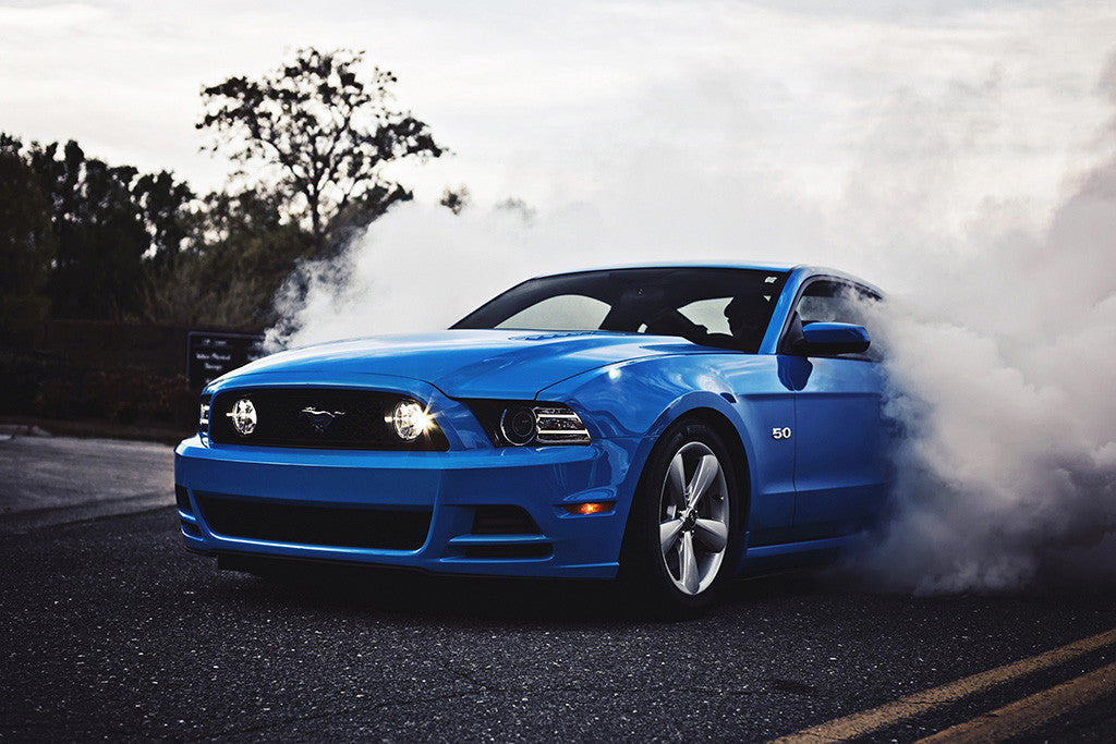 Ford Mustang GT 5.0 Smoke Blue Muscle Car Poster