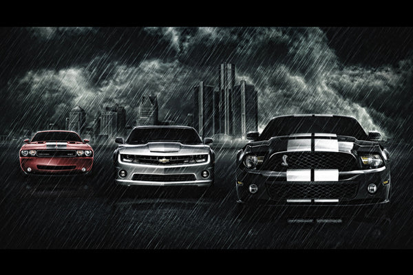 Dodge Cars For Sale >> Chevrolet Camaro Ford Mustang Cobra Dodge Challenger SRT Cars Poster – My Hot Posters
