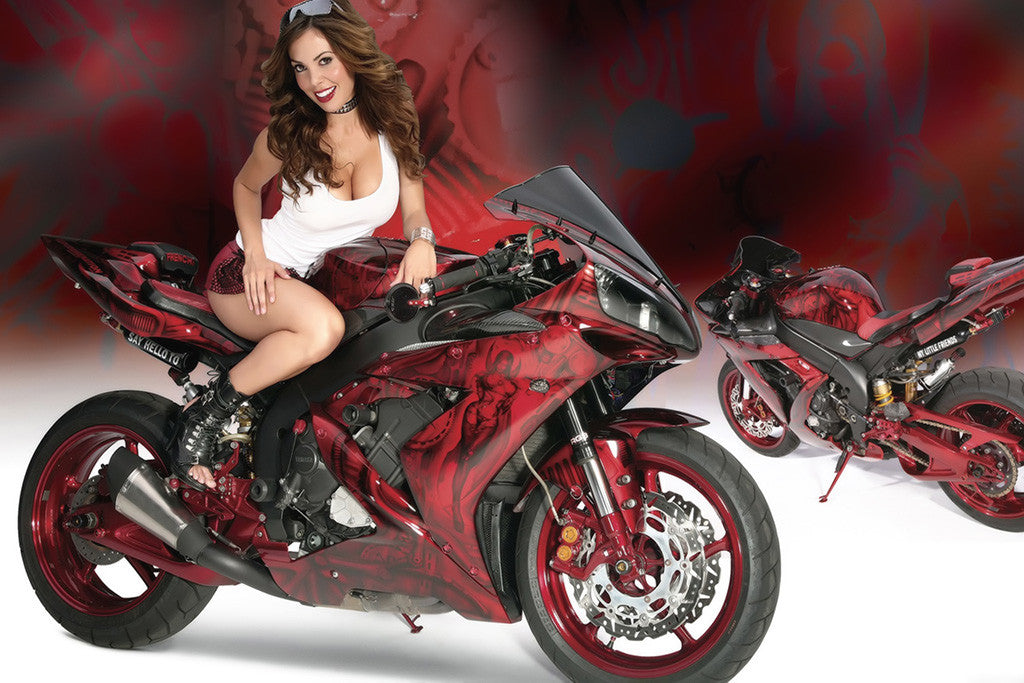 Yamaha Motorcycles For Sale >> Yamaha YZF-R1 Bike Hot Girl Poster – My Hot Posters