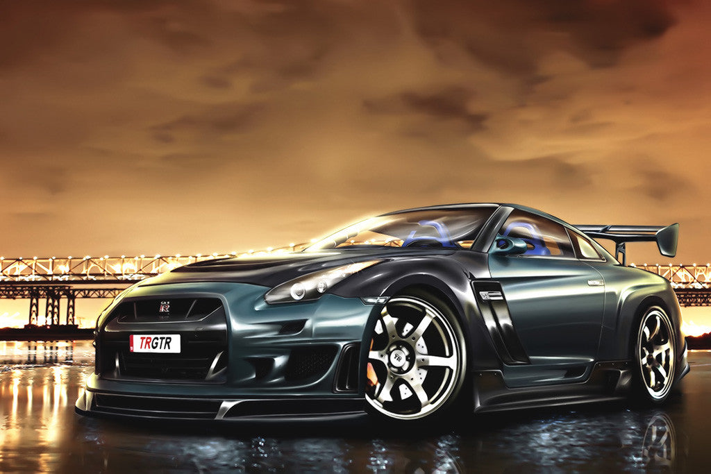 Nissan GTR Night Car Poster