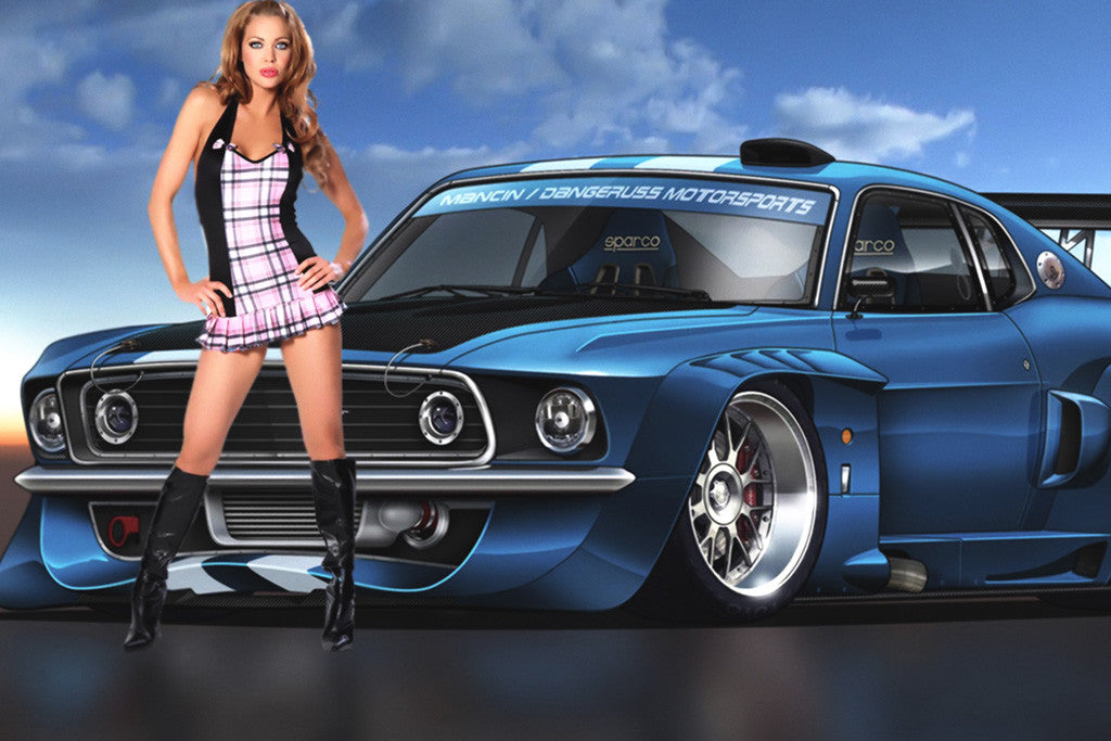 Ford Mustang Hot Girl Car Poster