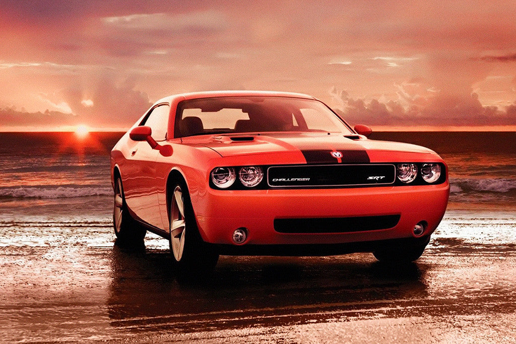 Dodge Challenger SRT Sea Sunset Car Poster