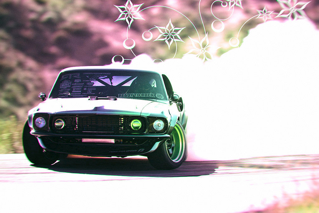 Ford Mustang RTR-X Muscle Car Drifting Poster