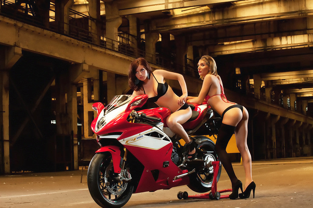 Hot Pin-Up Sexy Cute Girls MV Agusta F4RR Motorcycle Bike Motorbike Poster