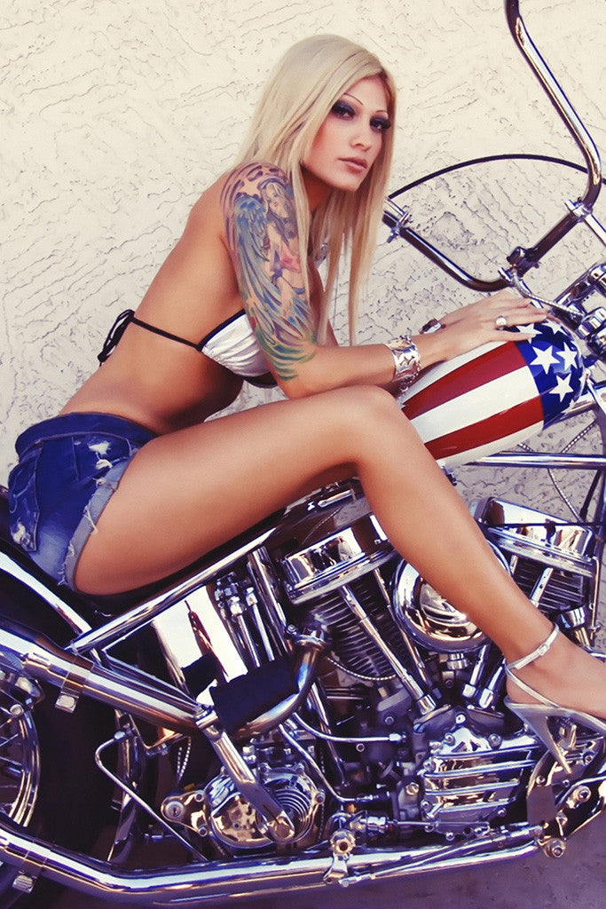 Hot Sexy Blonde Girl Woman Chopper Motorcycle Bike Motorbike Poster