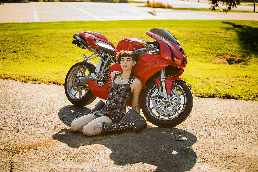 Red Ducati 999 Cute Brunette Girl Female Tattoos Motorcycle Poster