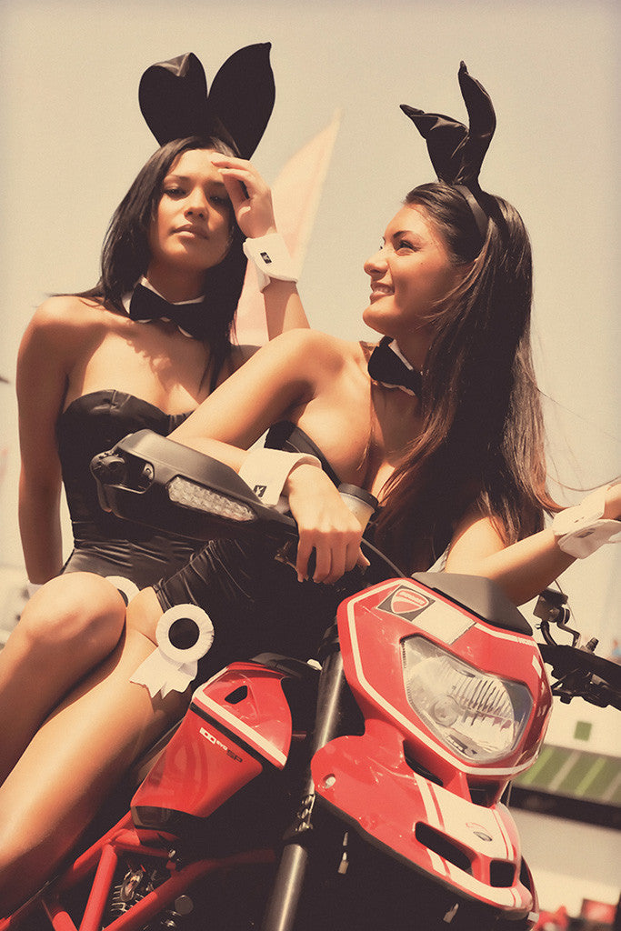 Hot Brunette Girls Ducati 1100 EVO Motorcycle Bike Motorbike Poster