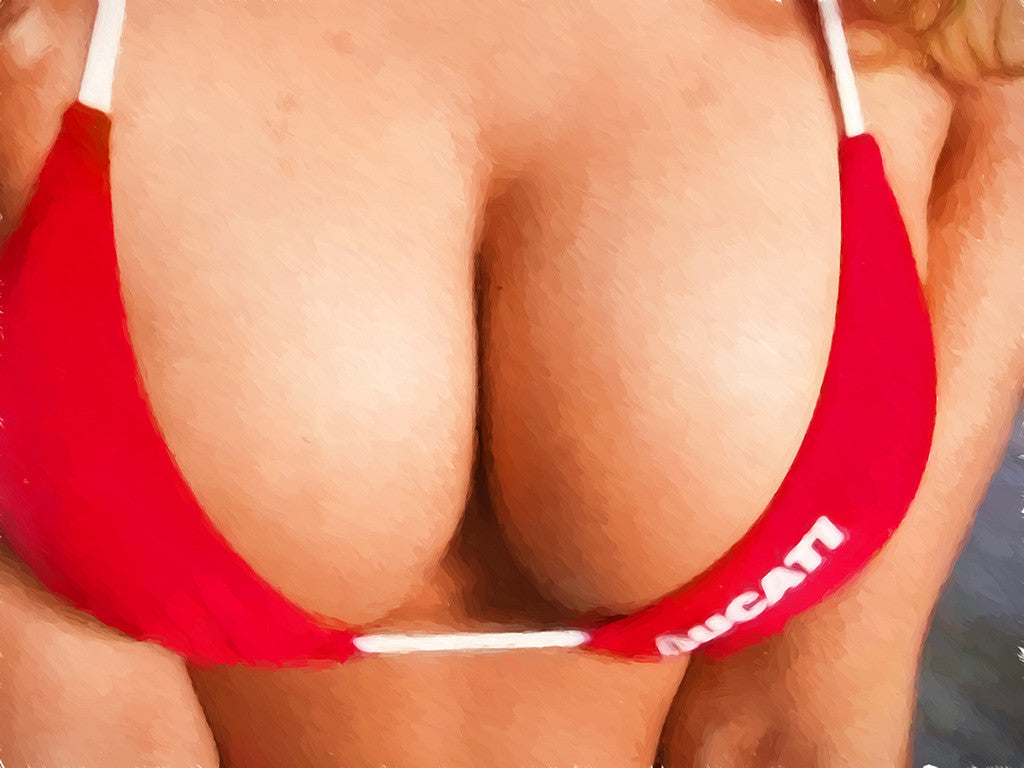 Ducati Huge Big Boobs Tits Bikini Motorcycle Bike Motorbike Poster
