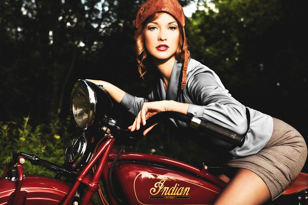 Pin-Up Cute Girl Indian Scout Old Retro Motorcycle Bike Motorbike Poster