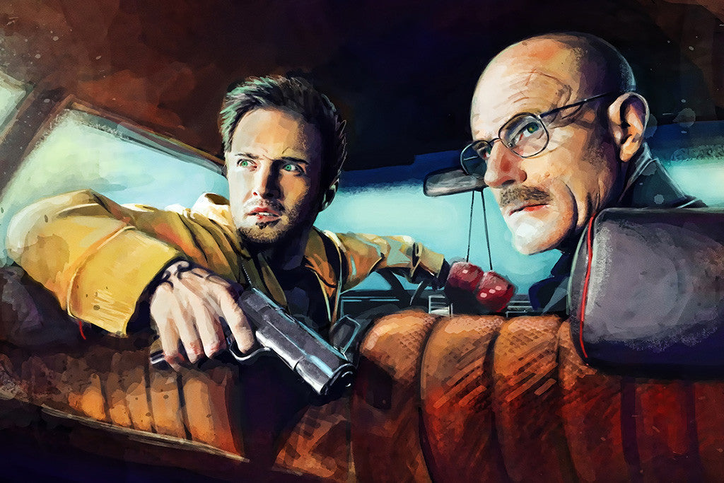 Breaking Bad Walter White Jesse Pinkman Gun Car Poster