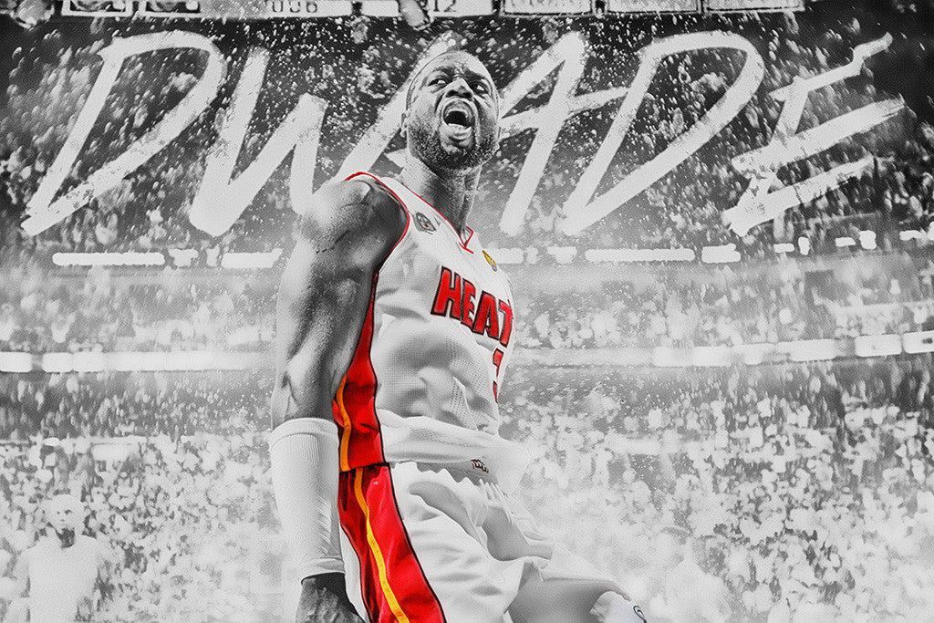 Dwyane Wade Miami Heat Black and White Basketball NBA Poster