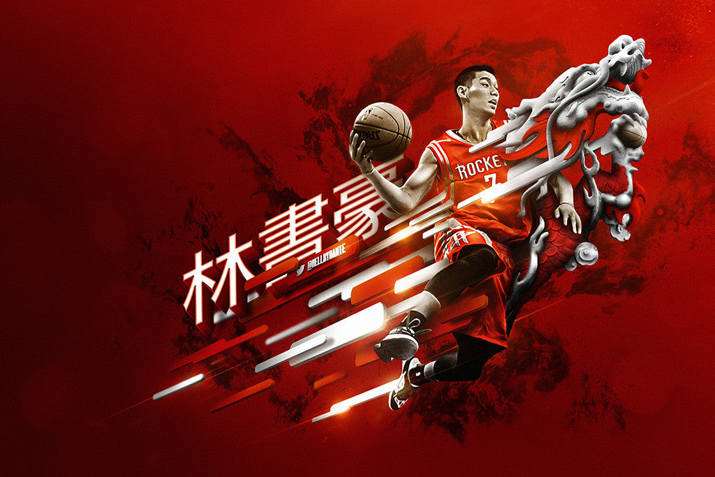 Jeremy Lin Houston Rockets Basketball NBA Poster