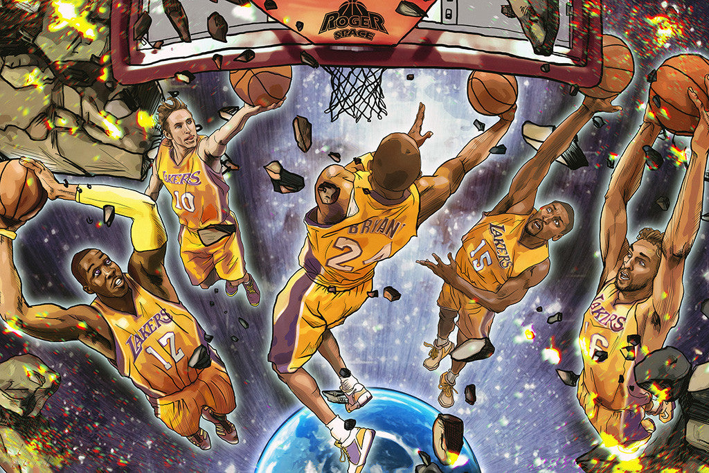 Los Angeles Lakers Kobe Bryant Dwight Howard Basketball NBA Poster