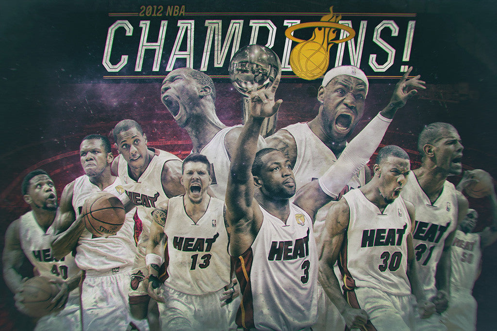 Miami Heat Team Lebron James Dwyane Wade Chris Bosh NBA Poster