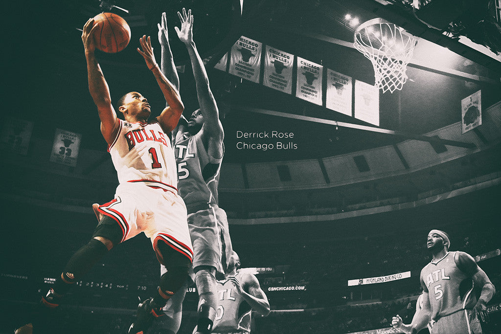 Derrick Rose Chicago Bulls Basketball NBA Poster