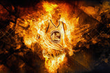 Stephen Curry Golden State Warriors Fire Basketball NBA Poster
