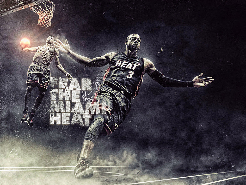 Lebron James Dwyane Wade Miami Heat Basketball NBA Poster