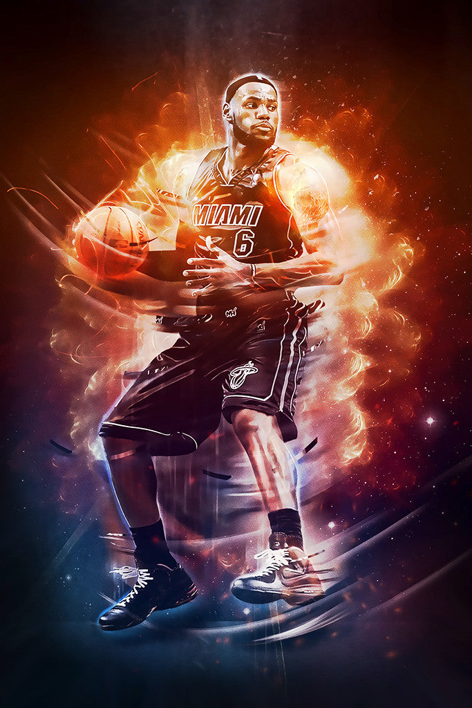 Lebron James Miami Heat Basketball NBA Poster