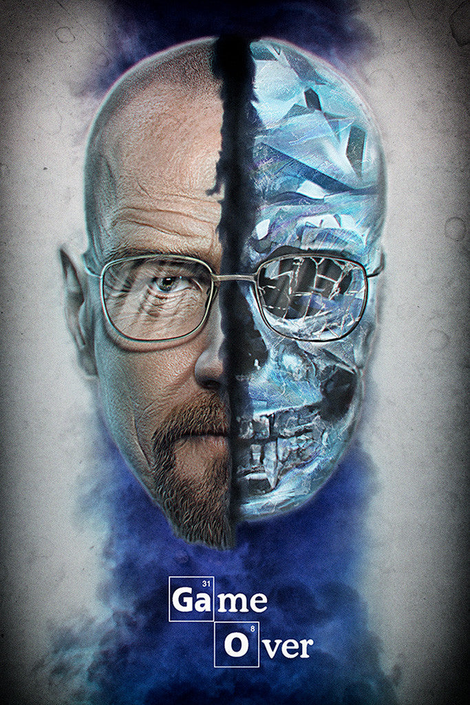 Breaking Bad Walter White Skull Game Over Poster