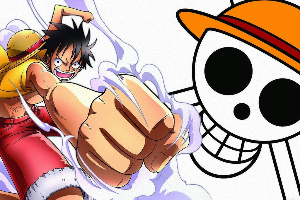 Luffy One Piece Skull Anime Poster