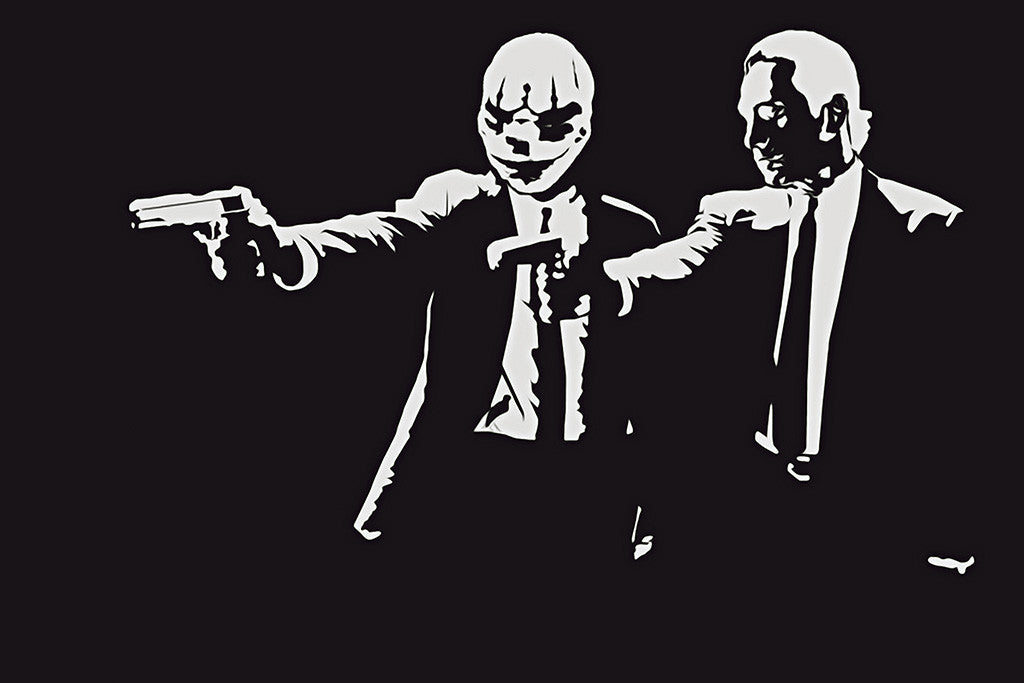 Payday 2 Pulp Fiction Black and White Poster