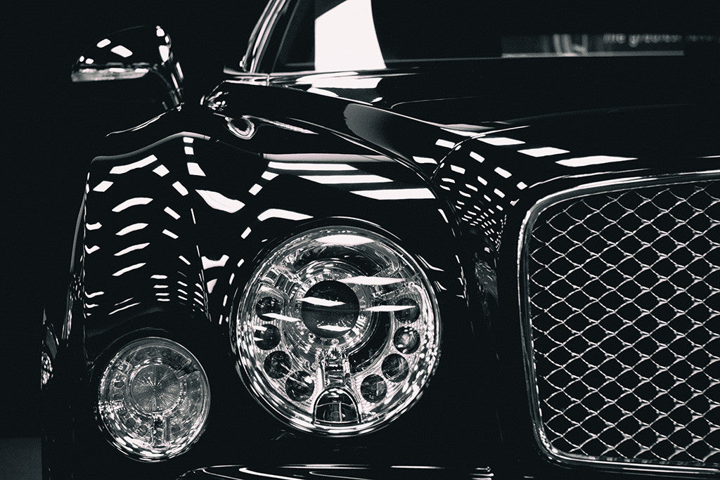 Bentley Black and White Car Auto Poster